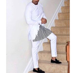 Image 2 - H & D 2019 african dashiki kleidung für männer keine kappe shirt hosen set stickerei tops hosen anzug männer traditionelle afrikanische kleidung