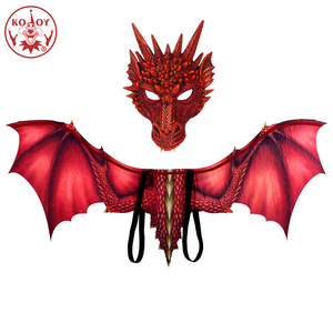 Image 2 - KOOY Adult Boy and Girl Kids Halloween Decoration Carnival Party Animal Costume Dragon Cosplay Masquerade Face Mask and Wing