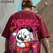 ZAZOMDE Hip Hop Men Harajuku Streetwear T-shirt Fashion Loose Men Student Print Short-sleeved Tee Letter Panda Round Neck Tshirt