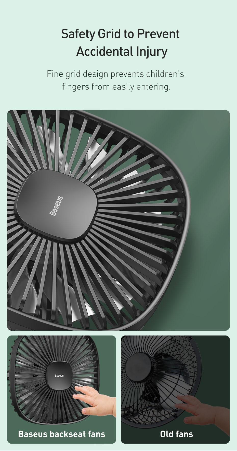 Baseus Natural Wind Magnetic Rear Seat Fan Rechargeable Fan 11