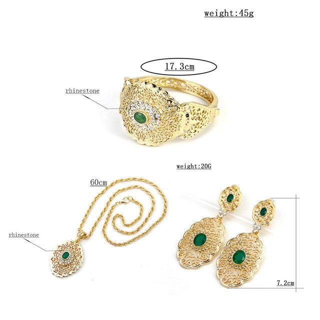 Sunspicems-Conjunto de joyería de boda Chic marroquí, pendientes de gota de Color dorado, brazalete, colgante, collar, regalo de Metal hueco árabe 6