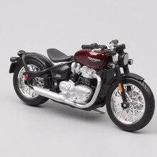 Bburago motocicleta de plástico fundido a presión para niños, Triumph Bonneville Bobber, modelos de exhibición, 1/18