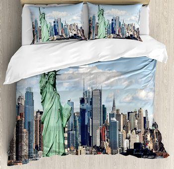New York Duvet Cover Set Statue of Liberty in NYC Harbor Urban City Print Famous Cultural Landmark Picture Bedding Set Mint Blue
