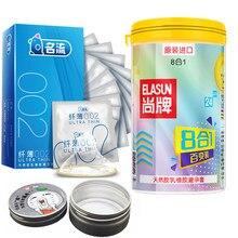 Elasun 34 pçs 8 tipos de preservativos ultra finos gelo e fogo pontilhado prazer para ela preservativos de borracha de látex natural para homem