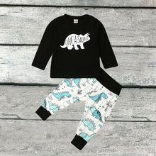 0-3Y Newborn Infant Baby Boys Clothes Sets Dinosaur Print Long Sleeve Pullover Tops+Pants 2pcs Clothes Sets