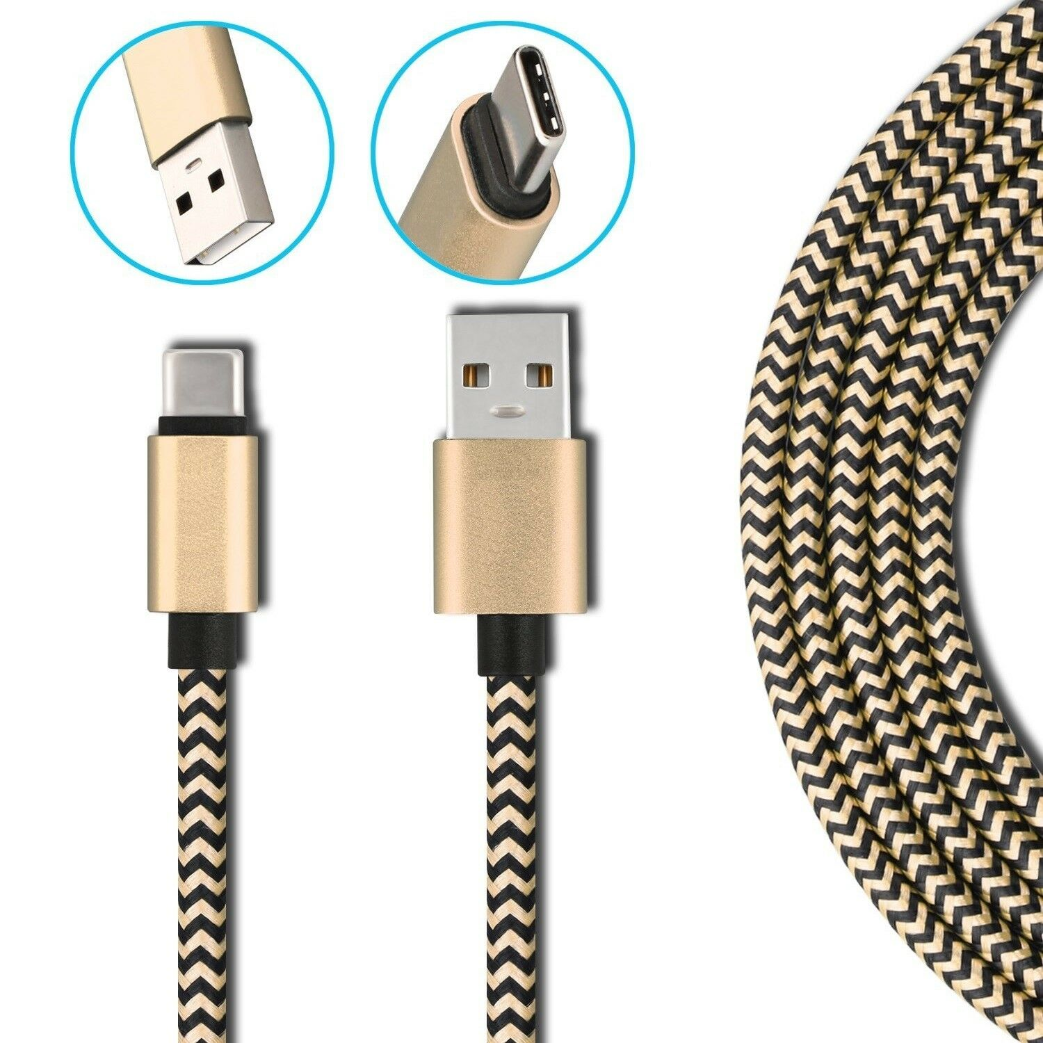Durable Braided Fast Charge USB C Type C Data Phone Charger Cable for <font><b>Samsung</b></font> Galaxy A80 A70 A50 A40 A30 A20e Note 10 Plus S10E image