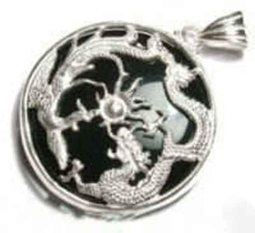 Livre>> pingente e colar de prata de pedra preta de dragão phoenix