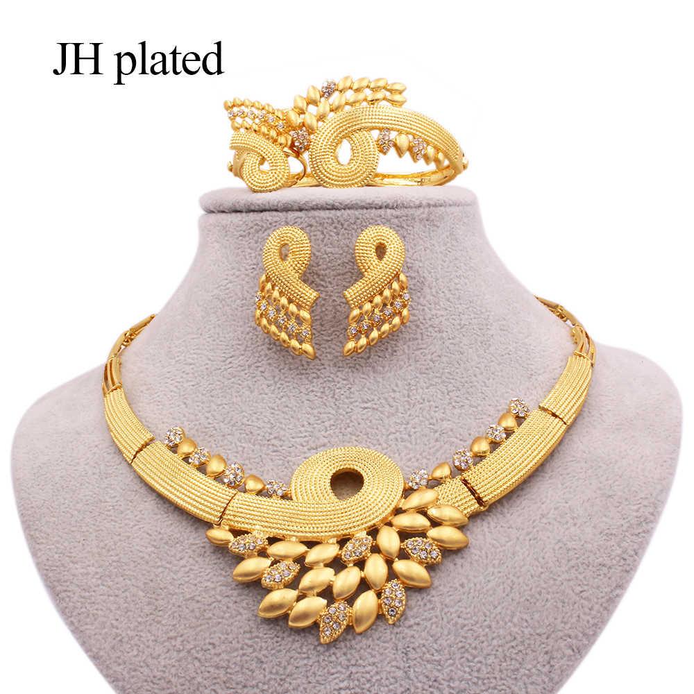 נשים זהב שרשרת עגילי טבעת צמיד המפלגה אפריקאית דובאי כלה חתונה סיטונאי מתנות תכשיטי סט