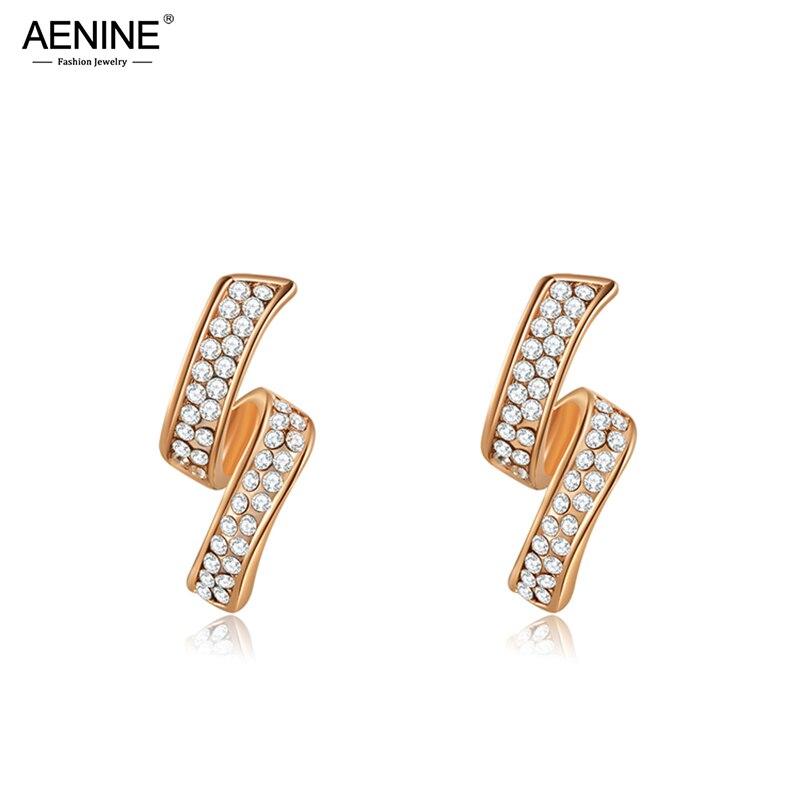 AENINE, европейский стиль, Новое поступление, серьги гвоздики с натуральным фианитом, кристаллами и цветком для женщин, модные серьги на Рождество/День рождения, E15037|Серьги-гвоздики|   | АлиЭкспресс