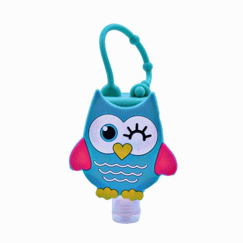 5*Cute Colored Cartoon Owl Shape Silicone Mini Hand Sanitizer Disposable No Clean Detachable Cover Travel Portable Safe Gel