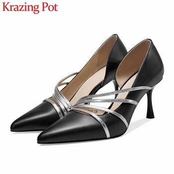 Krazing Pot elegant fashion mixed colors genuine leather shoes pointed toe stiletto high heels slip on mature women pumps L47