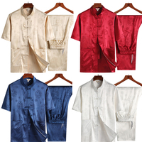 2019 New Traditional Chinese Tops Clothing Loose Mens Tang Suit Embroidery Summer Short Sleeve Satin Dragon for Men Clothes Set
