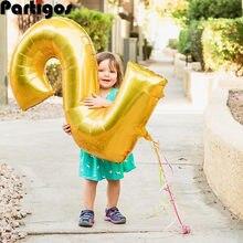 1pc 40 pollici Oro Rosa Argento Foglio di Alluminio Numero 2 Palloncini 2nd Di Compleanno Anniversario di Matrimonio Partito Decor Baby Shower forniture