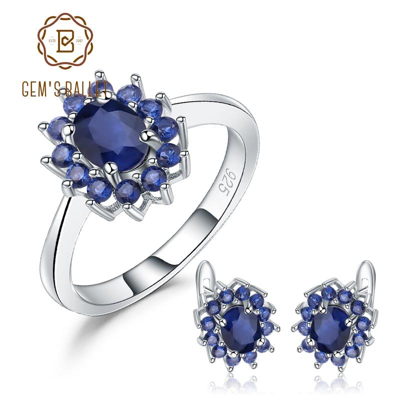 GEM'S BALLET Princess Diana Natural Blue Sapphire Flower Earrings Ring Set 925 Sterling Silver Jewelry Set For Women Wedding