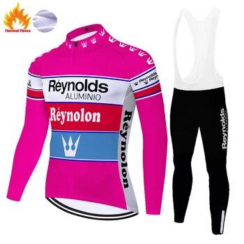 Camiseta de ciclismo clásica de vellón térmico para hombre, pantalones de GEL...