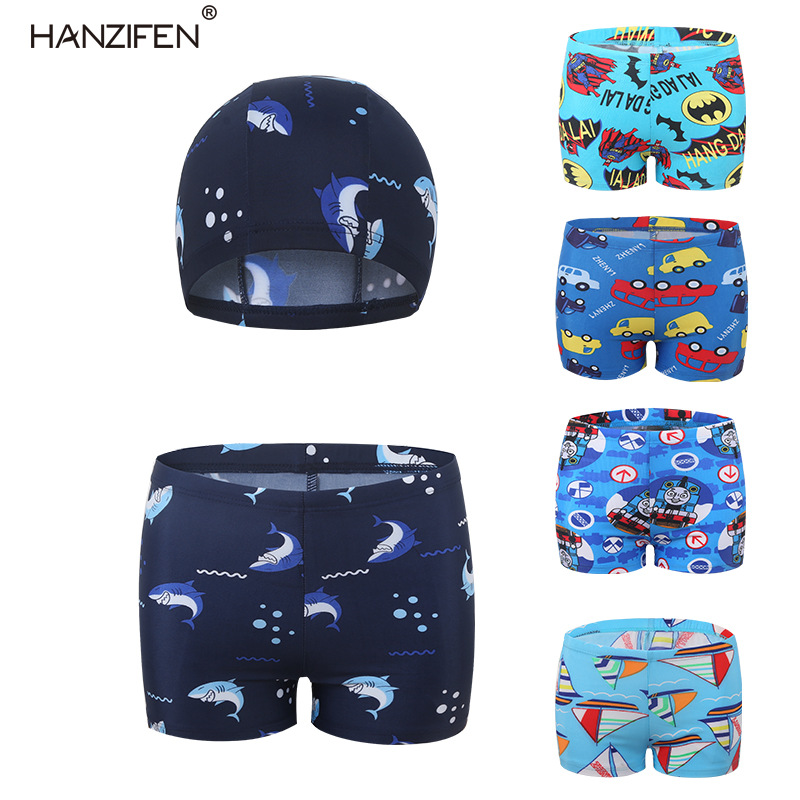 CHILDREN'S Swimming Trunks BOY'S 2019 New Style Sharks Swim Cap Two-Piece Set Cartoon Thomas Batman Swimming Trunks