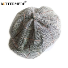 BUTTERMERE Newsboy Hat Unisex Men Women Woolen Octagonal Cap Vintage Plaid Male Female Beret Autumn Winter Flat