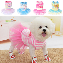 Sweet Striped Mesh Dog Dresses For Small Dogs Flannel Warm Puppy Dress Trendy Bowknot Dog Princess Dress Cute Pink Pet Supplies