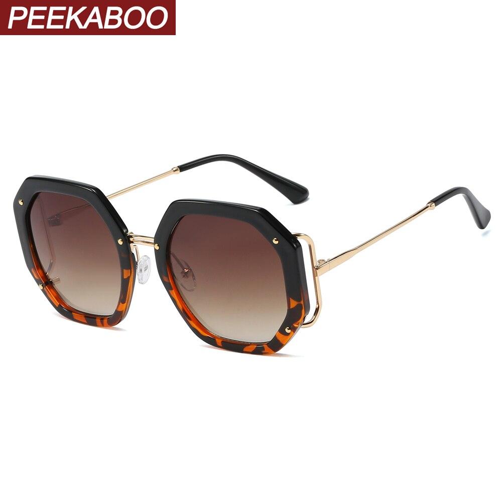 Женские Восьмиугольные солнцезащитные очки peekabo, летние круглые полуметаллические очки с леопардовым принтом, uv400, большие солнцезащитные очки для женщин, пляжный стиль Женские солнцезащитные очки      АлиЭкспресс