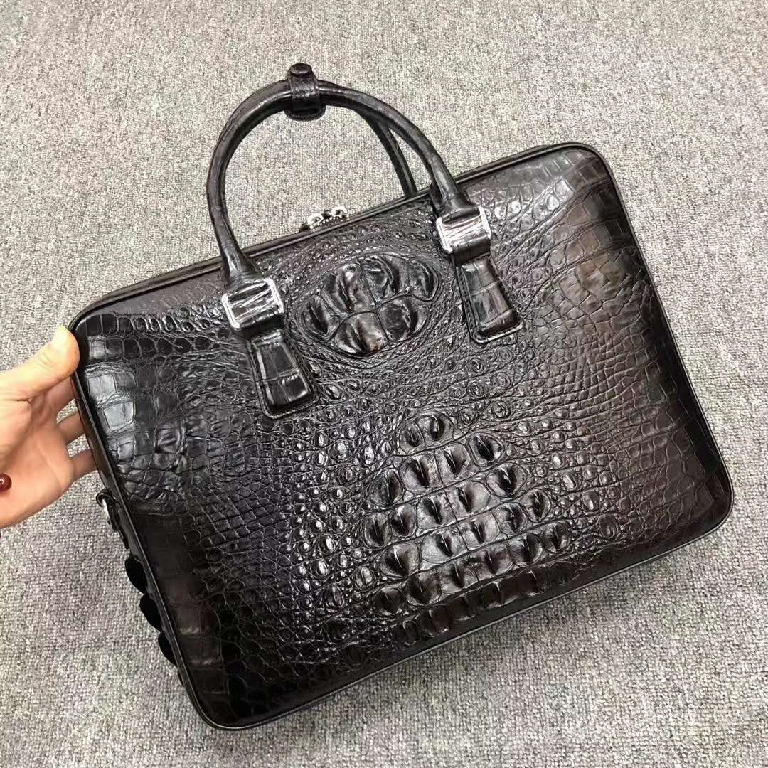 2020 SS Genuine Leather Mens Briefcase Bags Luxury Double Zipper Crocodile Leather Handbags Men Fashion Laptop Bags Briefcase