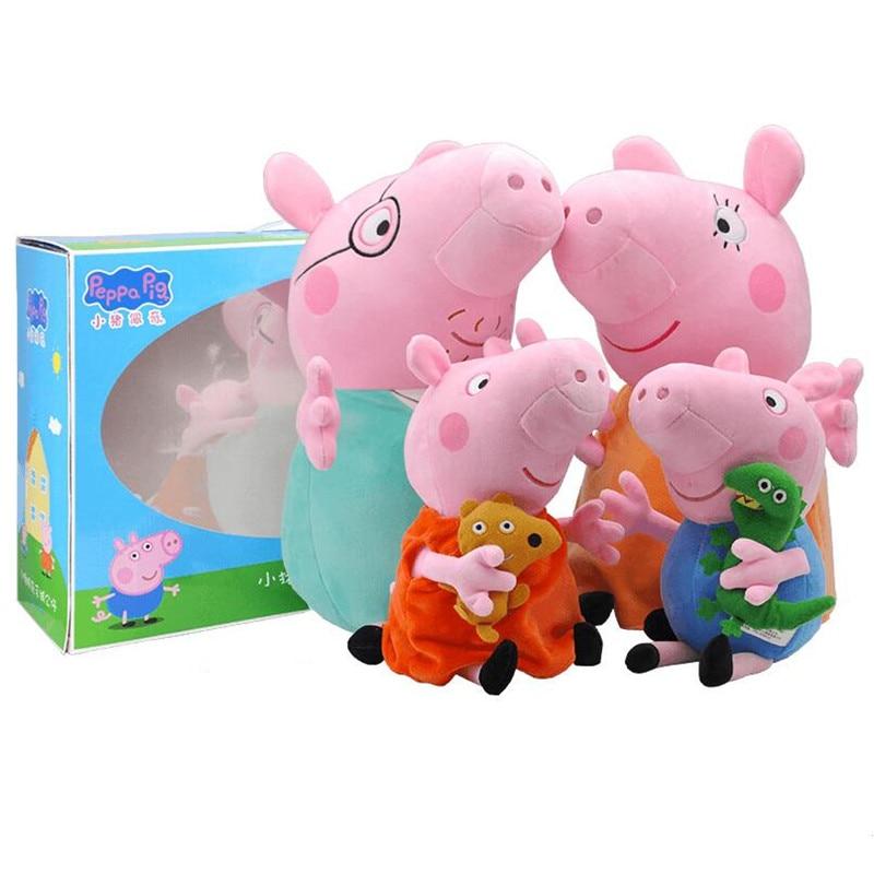 New High Quality Peppa Pig Little George Dad Mom 4 Set Family Fashion Plush Toy Cartoon Doll Kawaii Plush Doll Child Birthday Ch