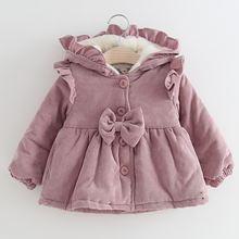 Зимняя куртка для маленьких девочек флисовое плотное бархатное