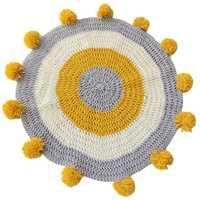 Tapis rond fait à la main tapis pompon tricoté cercle pour enfants tapis de zone de jeu 80X80cm salle de crèche salon