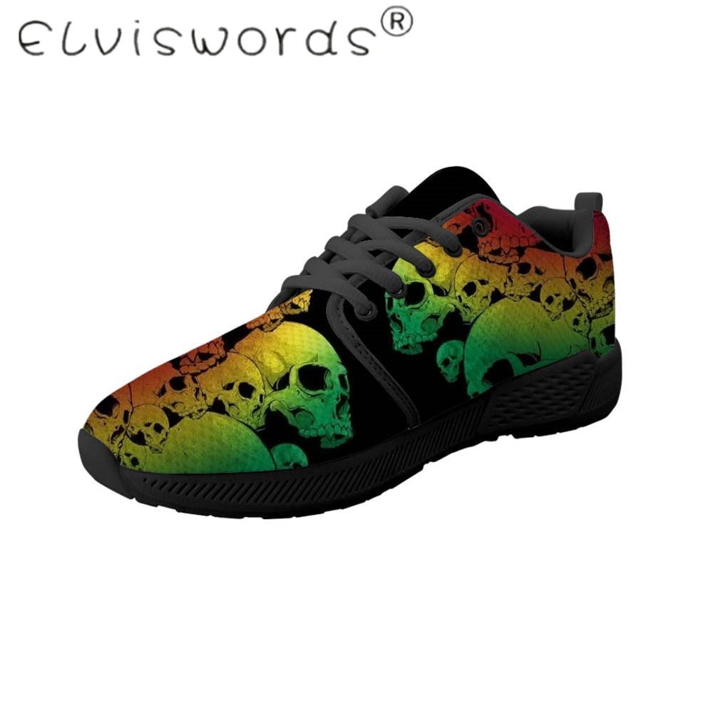 ELVISWORDS Men Shoes Cool Skull Pattern