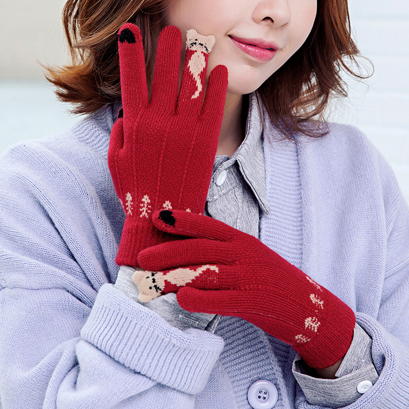 Fashion Women Gloves Winter Knitted Touch Screen Gloves Warm Five Finger Wrist Mittens Pink Christmas Gift Driving Gloves Female