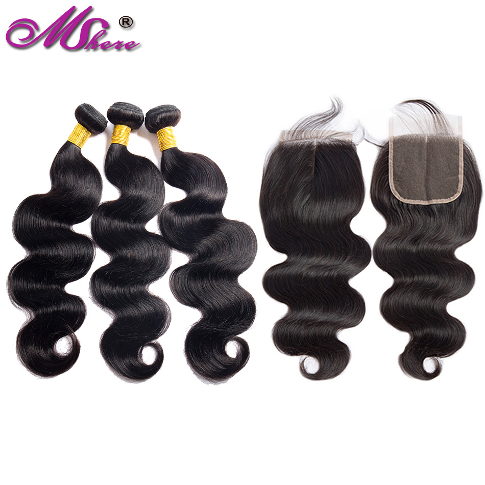 Brazilian Body Wave Bundles With Closure Human Hair Bundles With Closure Mshere Non Remy Hair Weave 3 Bundles With Closure