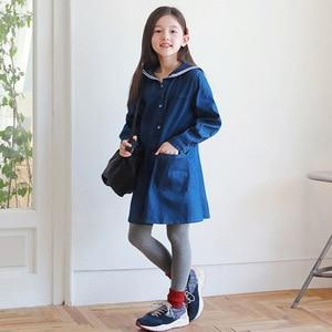 Image 5 - Loose Baby Princess Dress Autumn 2019 Cotton Kids Dresses for Girls Children Jeans Dress Teenager Toddler Clothes Soft,#8001