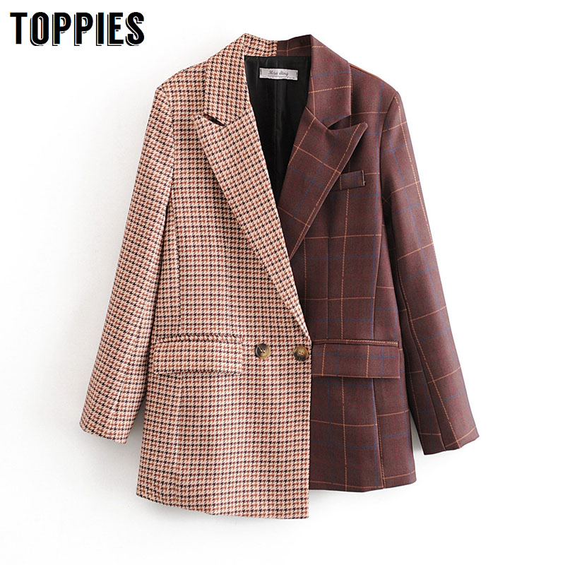 2020 Women Suits Plaid Long Blazer Vintage Spliced Asymmetrical Jacket Ladies Double Breasted Coat