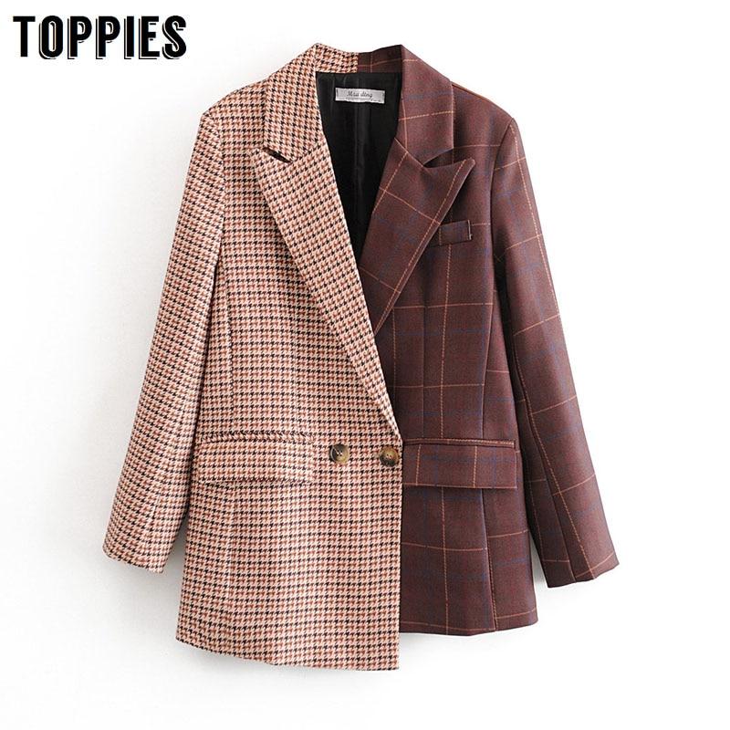 2020 Women Suits Plaid Long Blazer Vintage Spliced Asymmetrical Jacket Ladies Double Breasted Coat