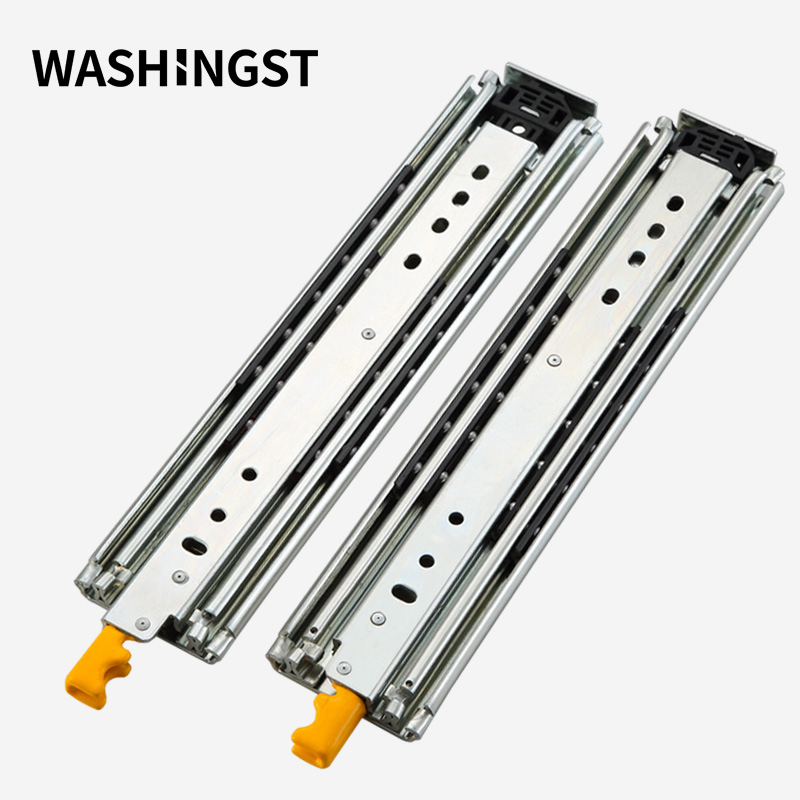 Heavy Duty Slide Rail With Lock 76mm Width Full Extension Solid Ball Bearing Industrial Drawer Rail