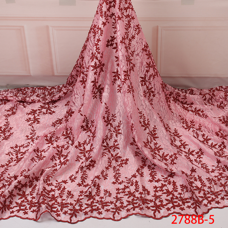 African Lace Fabric 2019 High Quality French Lace Gold Cord Lace Fabric Embroidery Guipure Net Lace Fabric For Wedding YA2788B-5