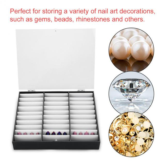 33 Grids Nail Tip Make Organizer Opbergdoos Nail Art Rhinestones Bead Container Fake Nail Display Plank Case Manicure Gereedschap