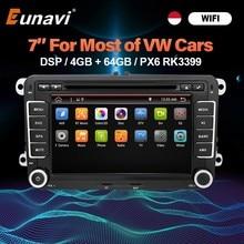 Eunavi 2 Din Android Auto DVD Auto Radio Multimedia para VW GOLF 5 Polo Bora JETTA B6 PASSAT Tiguan Skoda filtro para Audi Octavia Touran GPS DSP