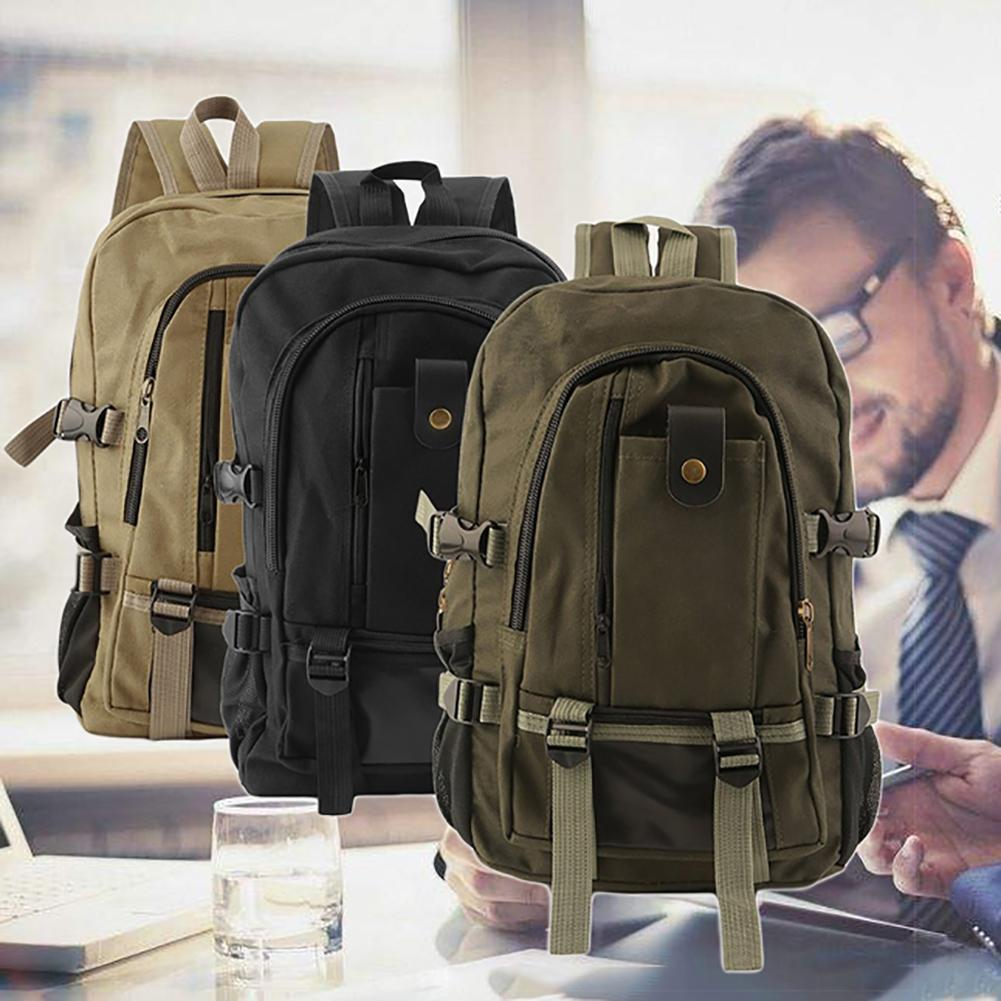 Men Casual Canvas Backpack School Rucksack Vintage Satchel Shoulder Laptop Bag Wear Resisting Package