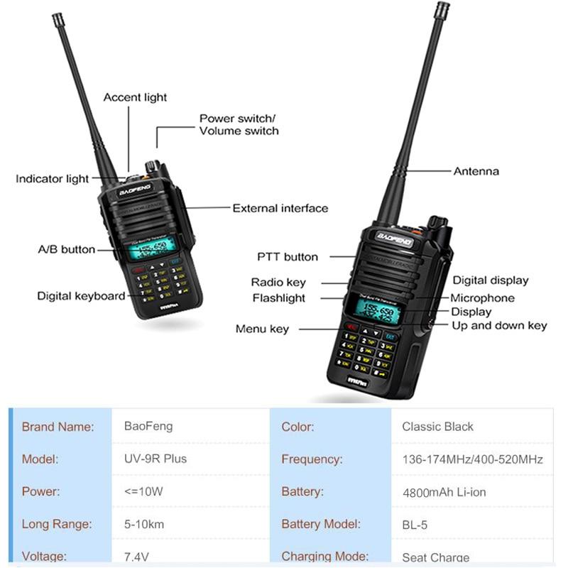 IP68 2020 Upgrade uv9r Baofeng UV-9R plus 50km walkie talkie 18W hf two way radio vhf uhf ham radio long range CB radio station