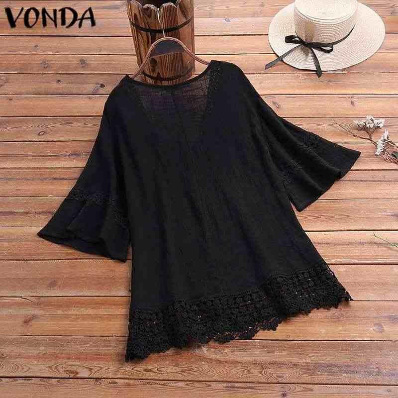 VONDA אופנה נשים חולצות 2019 נשי סקסי V צוואר חצי שרוול מוצק צבע חולצות בתוספת גודל בוהמי חולצות וחולצה 5XL Blusas