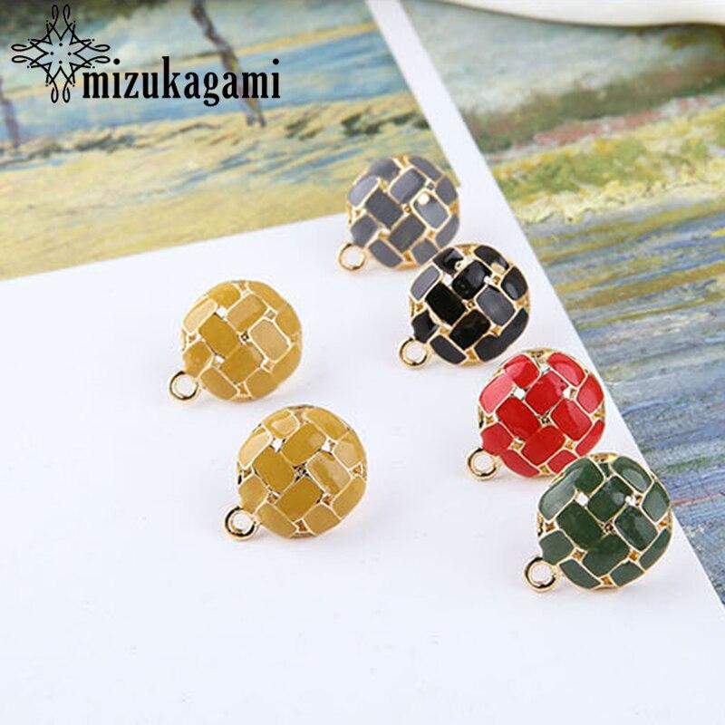 Zinc Alloy Metal Enamel Round Earrings Base Earrings Connector 15mm 10pcs/lot For DIY Fashion Earrings Accessories