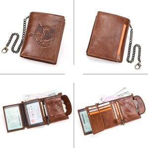 Image 5 - CONTACTS 100% กระเป๋าสตางค์ผู้ชายหนังแท้กระเป๋าเหรียญขนาดเล็กChain Design PORTFOLIO Portemonneeกระเป๋าสตางค์ชายRetroกระเป๋าใส่นามบัตร