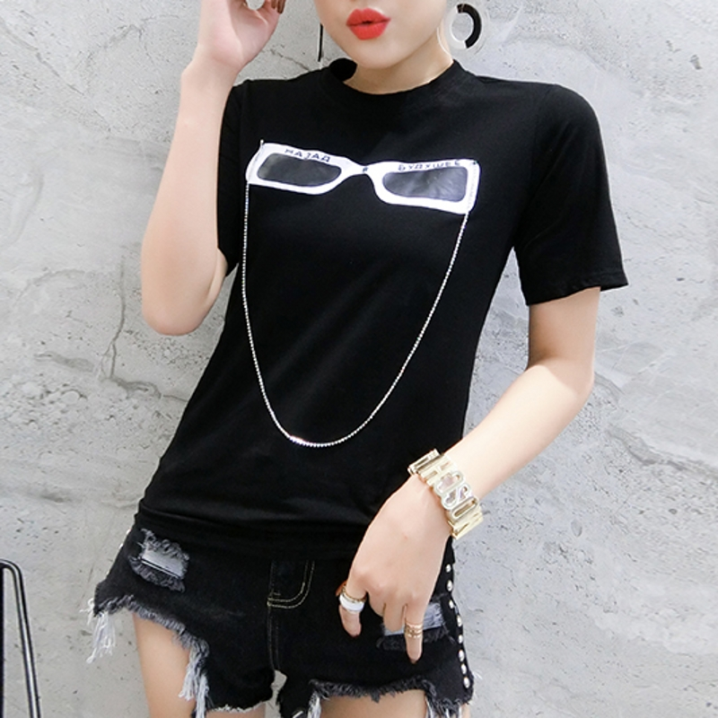 2020 New Summer Casual Loose Korean Clothes Glasses Chain T-shirt Women Cotton Short Sleeve Tops Ropa Mujer Shirt Tees T02422