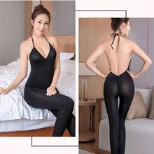 Sexy Bodysuit Deep V Neck Backless Jumpsuit Women Zipper Crotch Bandage Bodycon