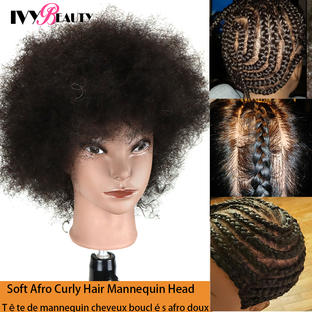 Afro Kinky Mannequin Head With Human Hair For Braiding Styling Barbers Salon Hairdressing Head For Practicing Styling Techniques