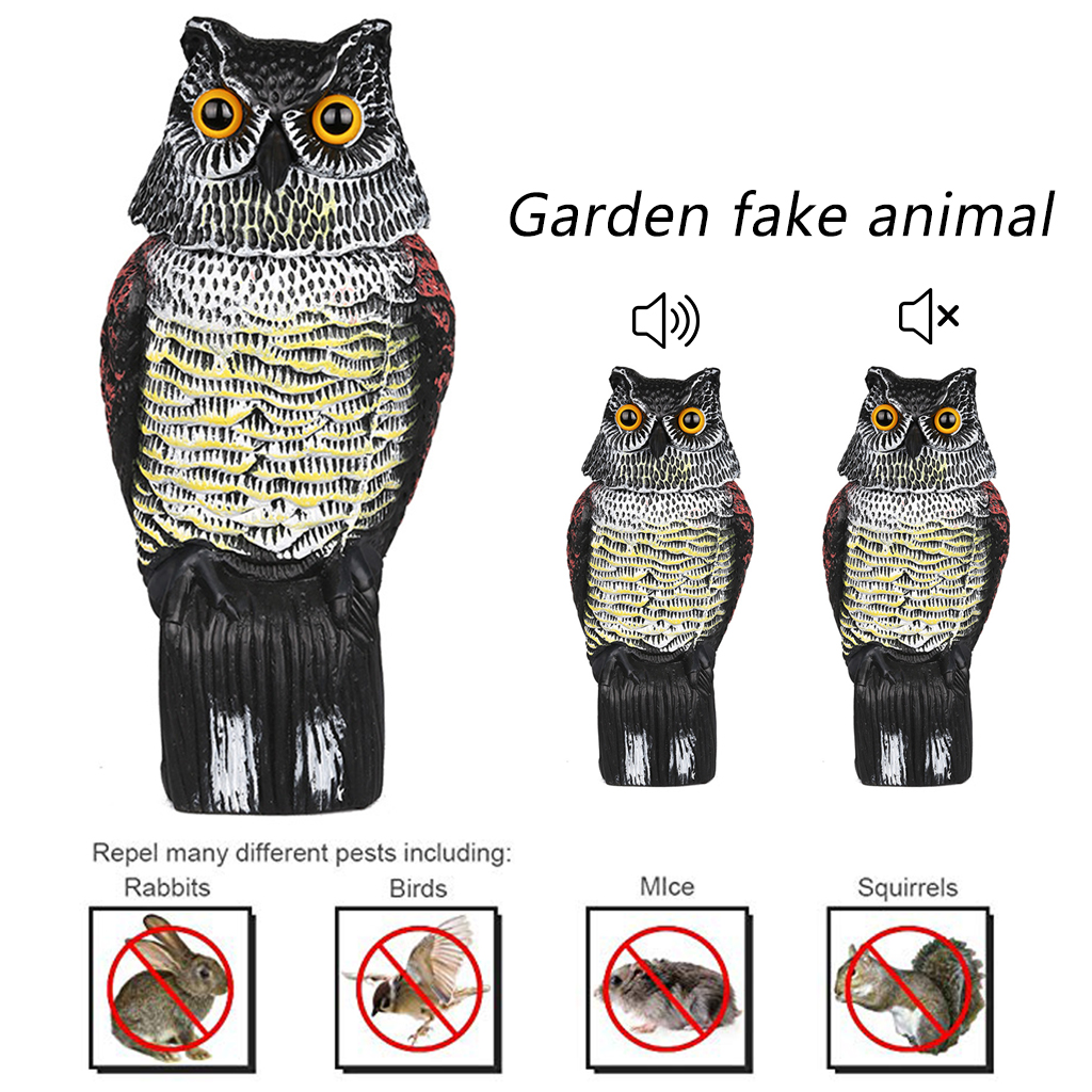 Realistic Bird Scarer Rotating Head Fake Owl Decoy Protection Garden Yards Decor Scarecrow Pest Deterrent Repeller Pest Control