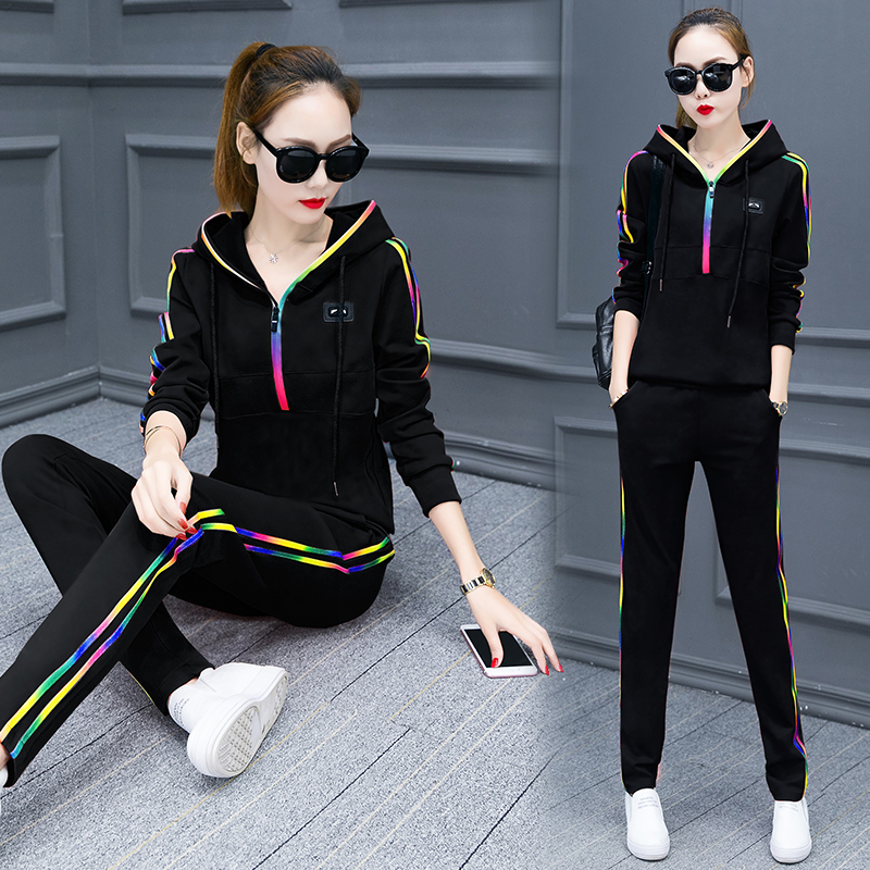 Spring Fleece Big Yards Hooded Casual Sportswear Suits Female Students Two-piece Tide Long-sleeved Pants Thin Model