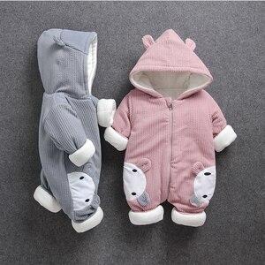 Image 1 - Soğuk kış Bebek Erkek kız rahat kapşonlu giyim seti tulum yenidoğan bebek erkek kız elbise kıyafetler kalın setleri tulum