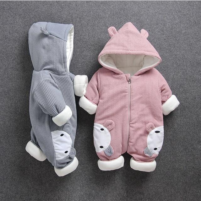 Soğuk kış Bebek Erkek kız rahat kapşonlu giyim seti tulum yenidoğan bebek erkek kız elbise kıyafetler kalın setleri tulum