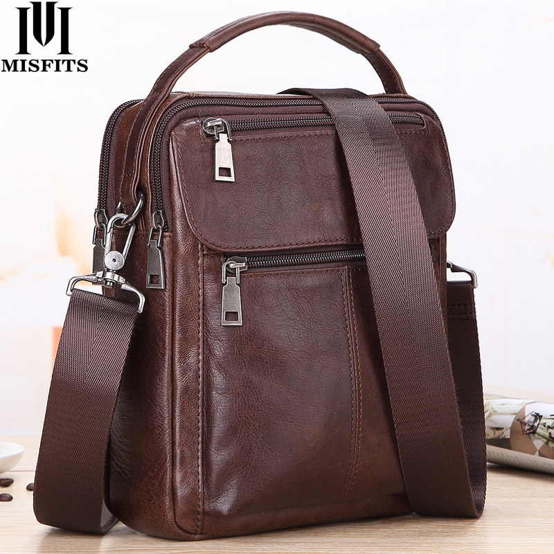 MISFITS Mens Messenger Bag fashion Waterproof zipper leather  shoulder Bag casual multi function business handbag mens NewCrossbody  Bags